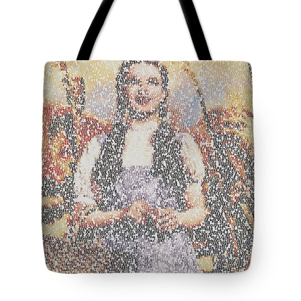 Tote Bag featuring the mixed media Dorothy Made Of Wizard Of Oz Quotes by Paul Van Scott