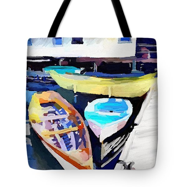 Dory Dock At Beacon Marine Basin - East Gloucester, Ma Tote Bag