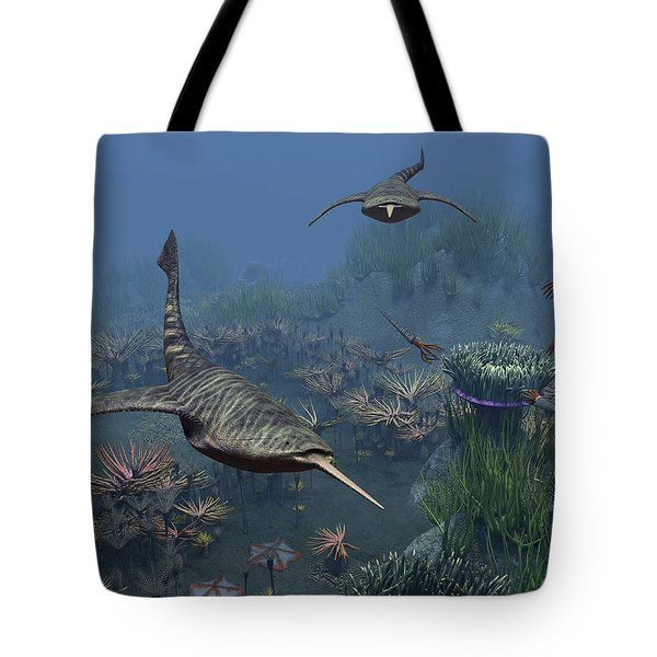 Doryaspis Swim Amongst A Bed Tote Bag by Walter Myers