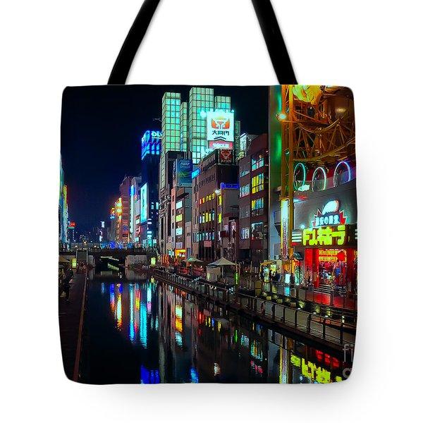 Dotonbori-gawa Canal At Night Tote Bag