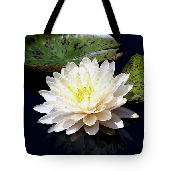 Dotty White Lotus And Lily Pads 0030 Dlw_h_2 Tote Bag