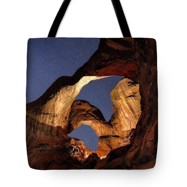 Double Arch At Night Tote Bag