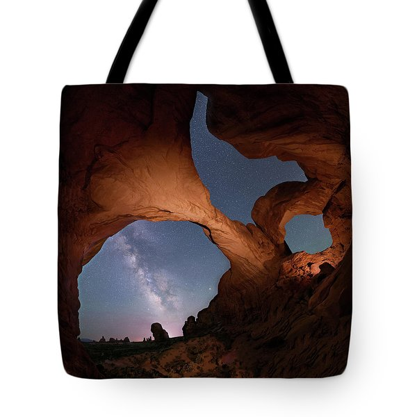 Tote Bag featuring the digital art Double Arch And The Milky Way - Arches National Park - Moab, Utah 2 by OLena Art Brand