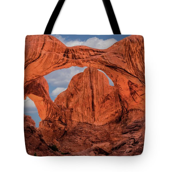 Tote Bag featuring the photograph Double Arches At Arches National Park by Penny Lisowski