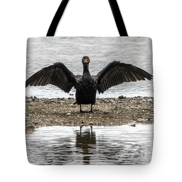 Double Crested Cormorant Portrait Flapping Wings Tote Bag