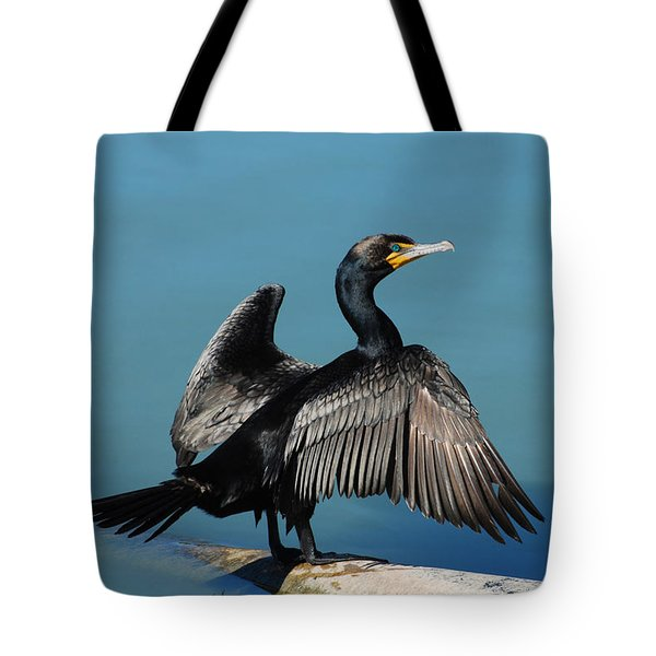Double-crested Cormorant Spreading Wings Tote Bag by Merrimon Crawford