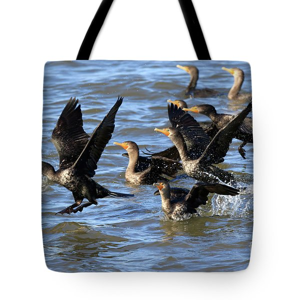 Double Crested Cormorants Tote Bag by Louise Heusinkveld