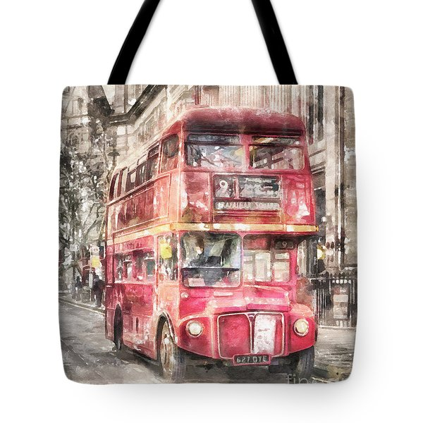 Double-decker Red Bus Of London Tote Bag by Shirley Stalter