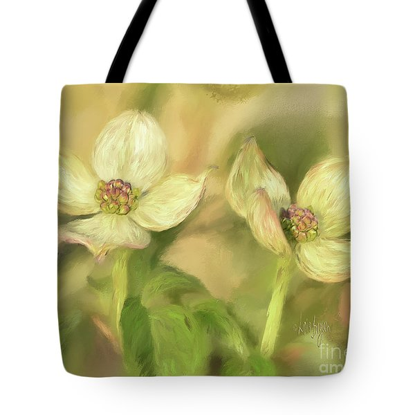 Tote Bag featuring the digital art Double Dogwood Blossoms In Evening Light by Lois Bryan