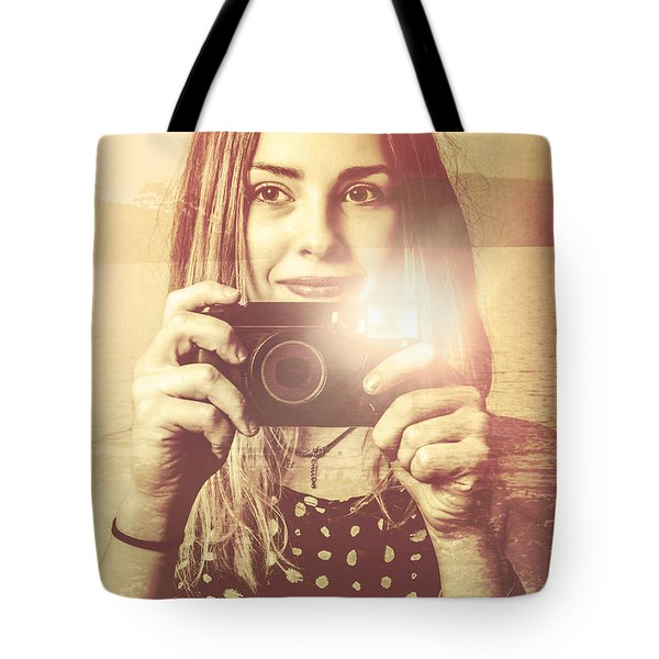 Double Exposure Vintage Camera Pinup Girl Tote Bag