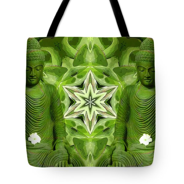 Double Green Buddhas Tote Bag