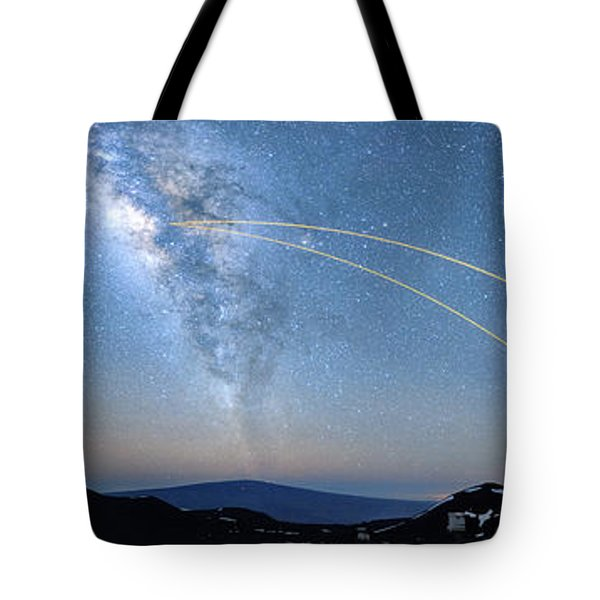 Double Lasers With The Milky Way Panorama Tote Bag