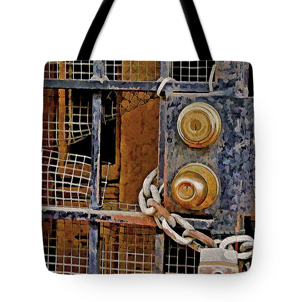 Tote Bag featuring the mixed media Double Locked by Lynda Lehmann