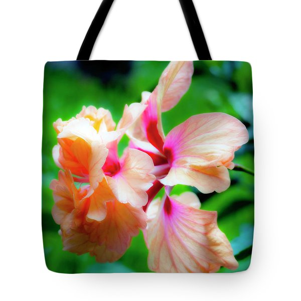 Double Peach Hibiscus Two Tote Bag
