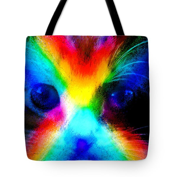 Tote Bag featuring the painting Double Rainbow Cat by David Lee Thompson