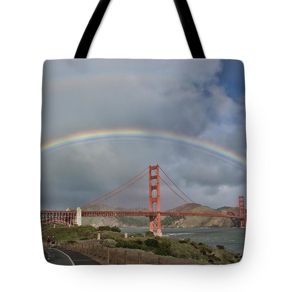 Tote Bag featuring the photograph Double Rainbow Golden Gate Bridge by Steve Siri
