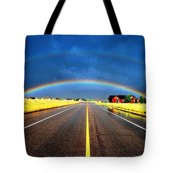 Double Rainbow Over A Road Tote Bag