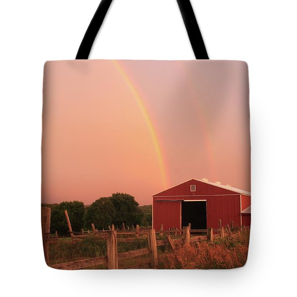 Double Rainbow Over Red Barn Tote Bag by John Burk