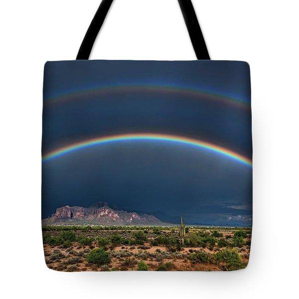 Tote Bag featuring the photograph Double Rainbow  by Saija Lehtonen