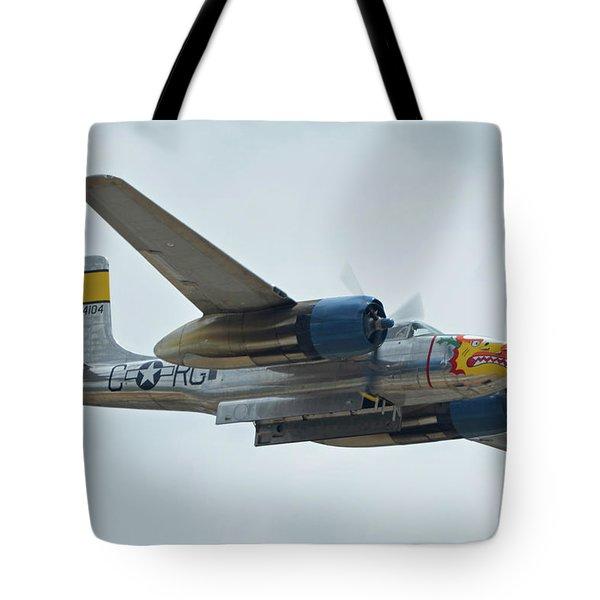 Tote Bag featuring the photograph Douglas A-26b Invader Nl99420 Silver Dragon Chino California April 30 2016 by Brian Lockett
