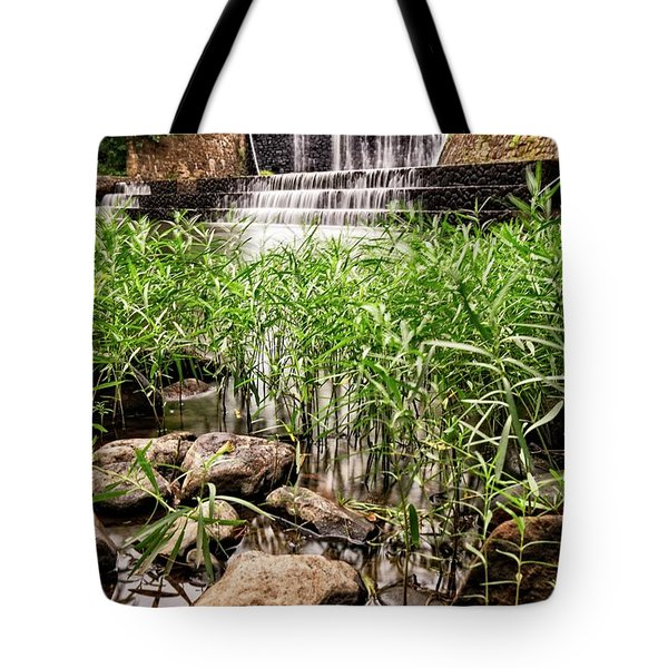 Tote Bag featuring the photograph Douthat Lake Dam by Alan Raasch