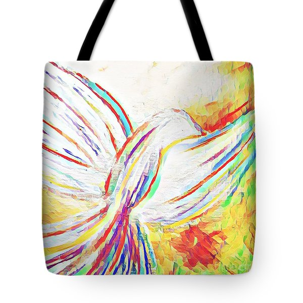 Tote Bag featuring the mixed media Holy Spirit by Jessica Eli