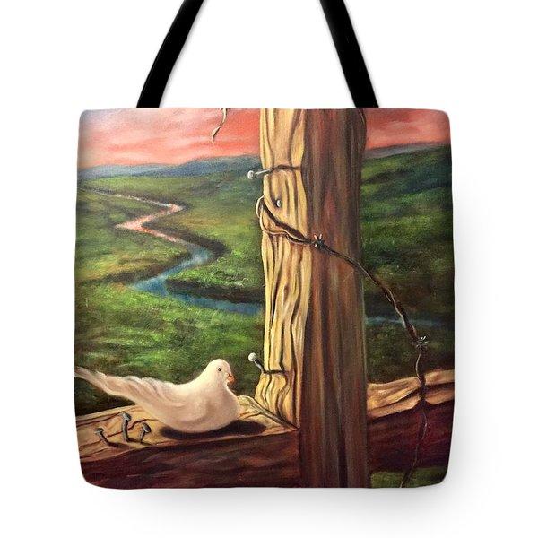 Dove On A Cross  Paloma  En Una Druz Tote Bag by Randy Burns