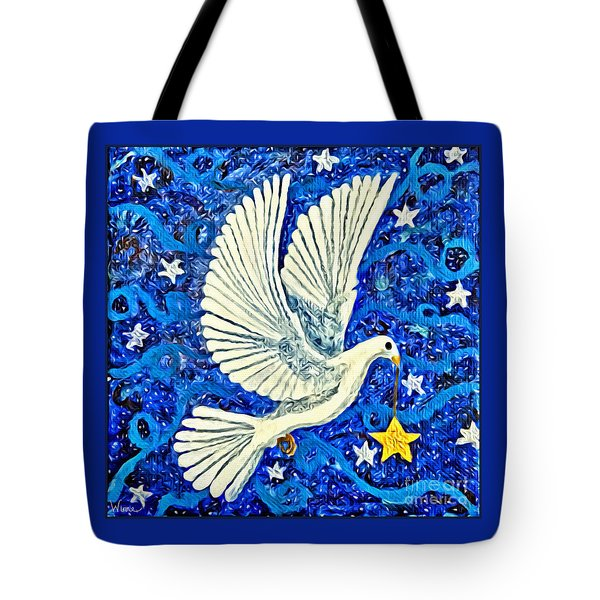 Tote Bag featuring the painting Dove With Star by Lise Winne