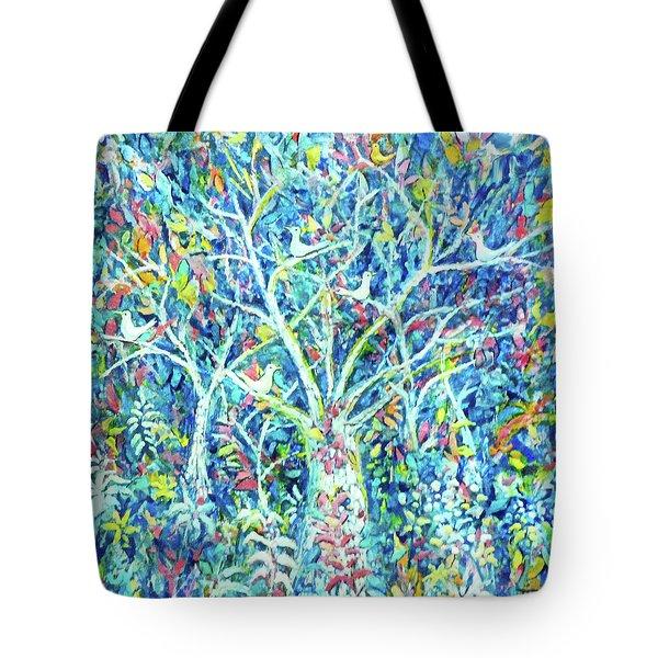 Doves In Trees Tote Bag