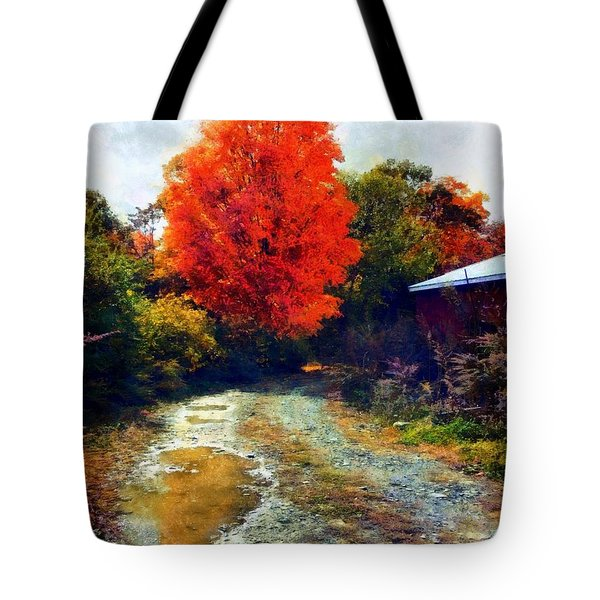 Tote Bag featuring the photograph Down A Country Road - Autumn by Janine Riley