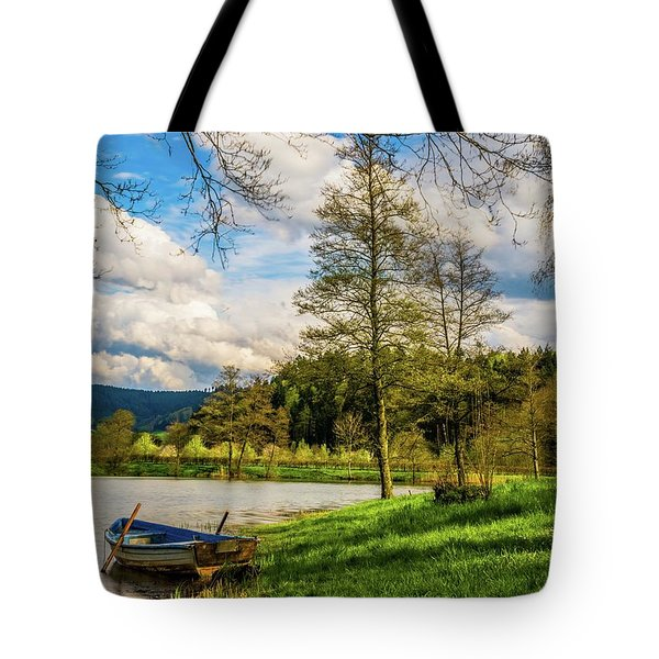 Down By The Lake  Tote Bag by David Dehner