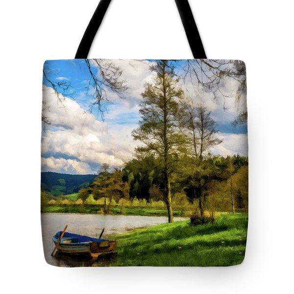 Down By The Lake Photodigitalpainting Tote Bag by David Dehner