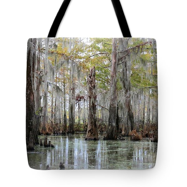 Down On The Bayou - Digital Painting Tote Bag by Carol Groenen