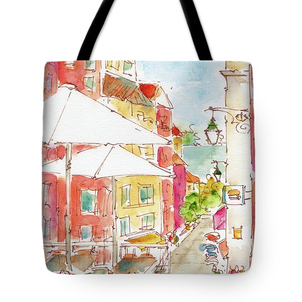 Tote Bag featuring the painting Down Rua Serpa Pinto Lisbon by Pat Katz