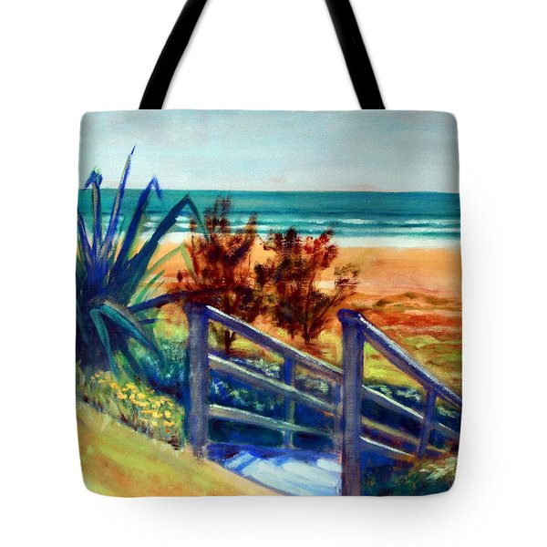 Down The Stairs To The Beach Tote Bag by Winsome Gunning