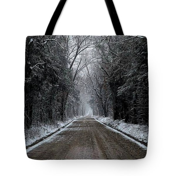 Down The Winter Road Tote Bag