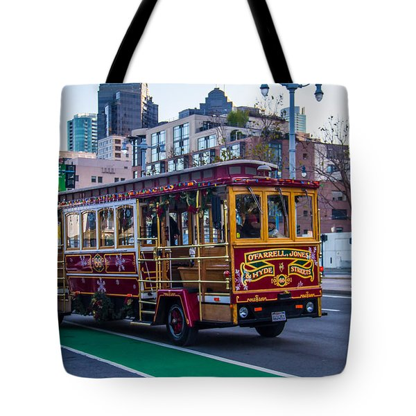 Down Town Trolly Car Tote Bag by Brian Williamson