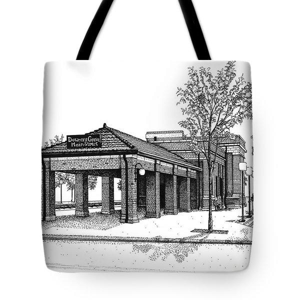 Downers Grove Main Street Train Station Tote Bag