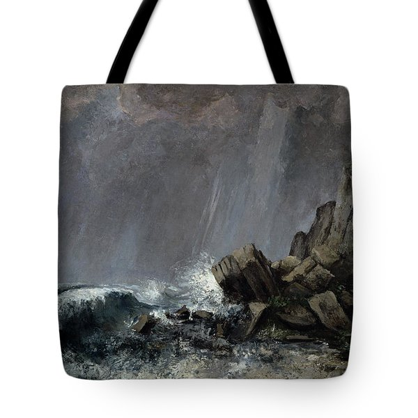 Downpour At Etretat  Tote Bag by Gustave Courbet