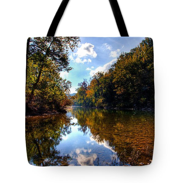 Tote Bag featuring the photograph Downriver At Ozark Campground by Michael Dougherty