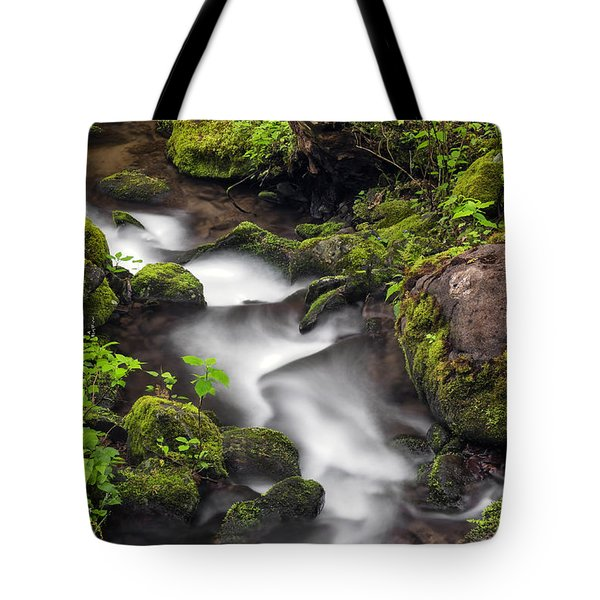 Downstream From The Waterfalls Tote Bag by Madonna Martin