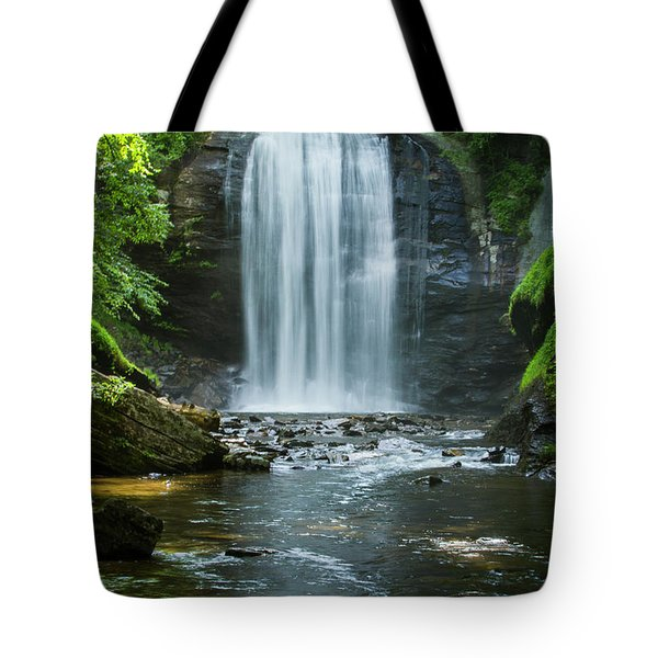 Tote Bag featuring the photograph Downstream Shade Looking Glass Falls Great Smoky Mountains Art by Reid Callaway