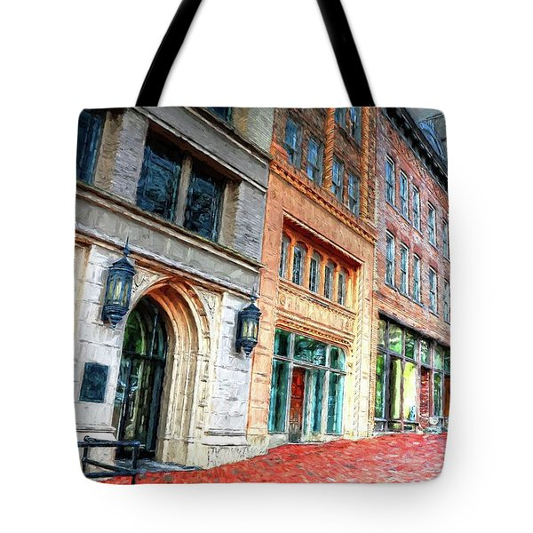 Downtown Asheville City Street Scene II Painted Tote Bag