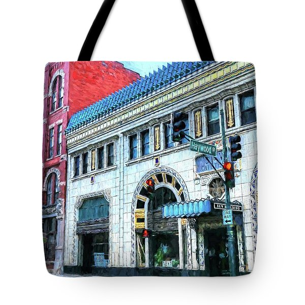 Downtown Asheville City Street Scene Painted  Tote Bag