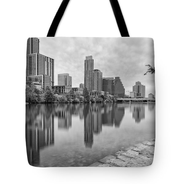 Downtown Austin In Black And White Across Lady Bird Lake - Colorado River Texas Hill Country Tote Bag