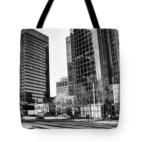 Tote Bag featuring the photograph Downtown Bubble Reflections by Darcy Michaelchuk