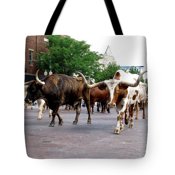 Downtown Cattle Drive Tote Bag