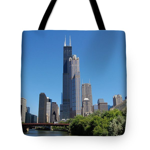 Downtown Chicago Skyline - View Along The River Tote Bag by Suzanne Gaff
