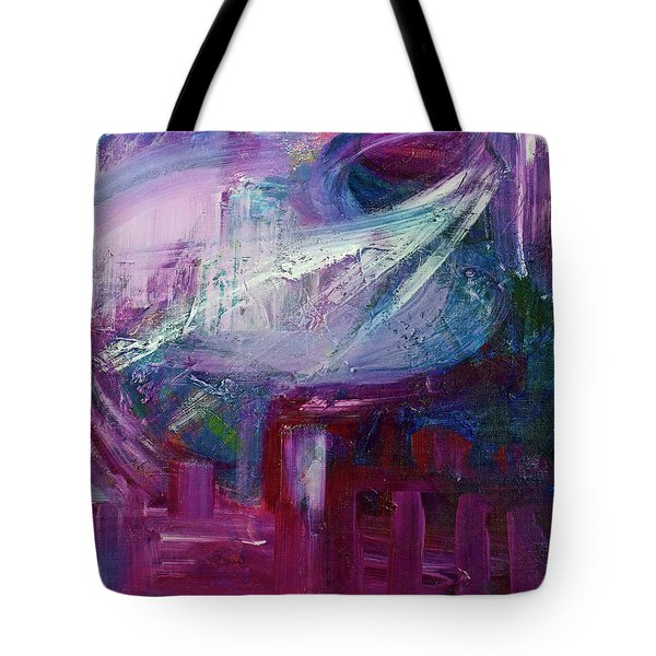 Tote Bag featuring the painting Downtown Early Morning by Walter Fahmy