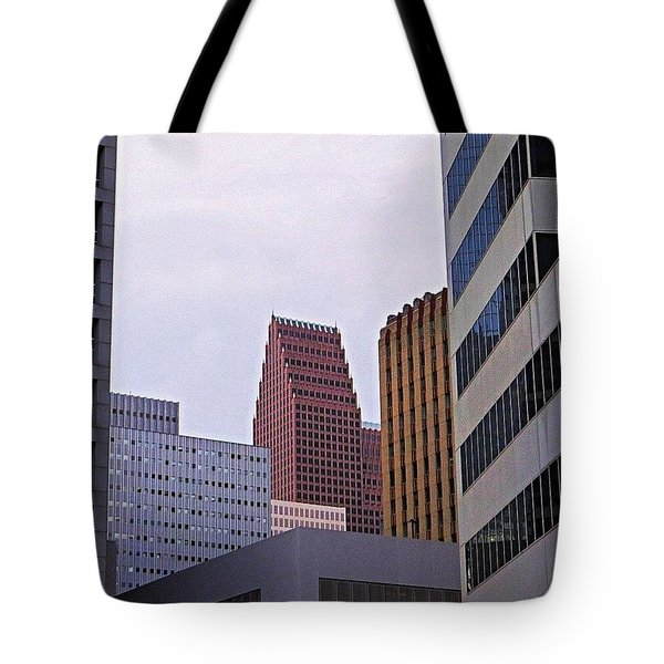 #downtown #houston On A Gloomy Cold Tote Bag